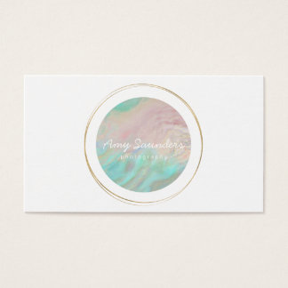 Gold Circular Mint Green Opal Design Business Card