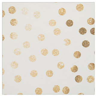 Gold City Dots on White Fabric