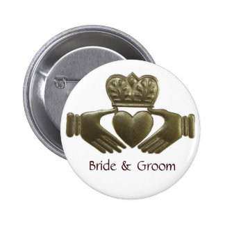 Gold Claddagh Bride and Groom Button