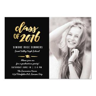 Gold Class of 2016 Photo Graduation Invitations