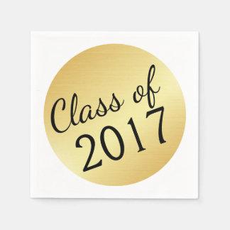 Gold Class of 2017 Graduation Paper Napkins