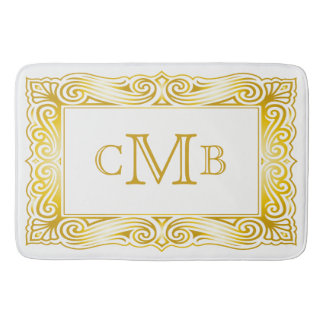 Gold Classic Monogram Decorative Traditional Frame Bath Mat