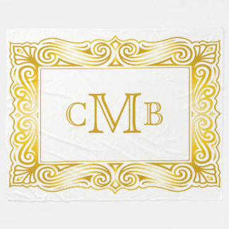 Gold Classic Monogram Decorative Traditional Frame Fleece Blanket