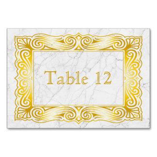 Gold Classic Monogram Elegant Frame White Marble Card