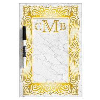 Gold Classic Monogram Elegant Frame White Marble Dry Erase Board