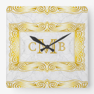 Gold Classic Monogram Elegant Frame White Marble Square Wall Clock