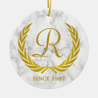 Gold Classic Monogram Laurel Leaf White Marble Ceramic Ornament