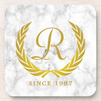 Gold Classic Monogram Laurel Leaf White Marble Coaster