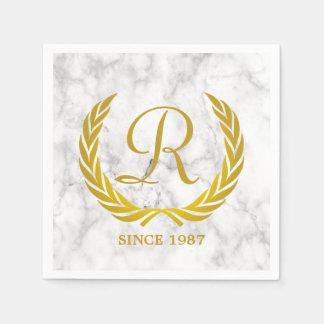 Gold Classic Monogram Laurel Leaf White Marble Disposable Napkin