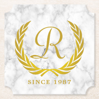 Gold Classic Monogram Laurel Leaf White Marble Paper Coaster