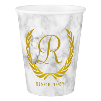 Gold Classic Monogram Laurel Leaf White Marble Paper Cup