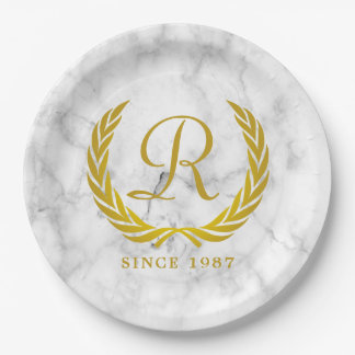 Gold Classic Monogram Laurel Leaf White Marble Paper Plate