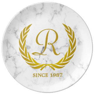 Gold Classic Monogram Laurel Leaf White Marble Plate