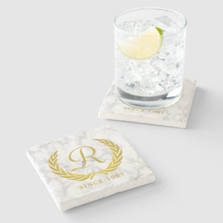 Gold Classic Monogram Laurel Leaf White Marble Stone Coaster