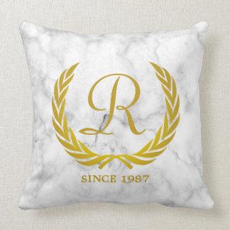 Gold Classic Monogram Laurel Leaf White Marble Throw Pillow
