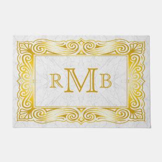 Gold Classic Monogram Ornate Frame White Marble Doormat