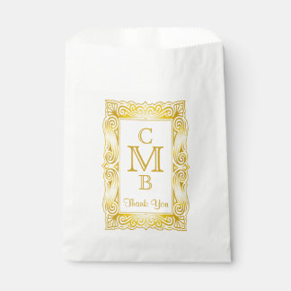 Gold Classic Monogram Ornate Frame White Marble Favour Bag
