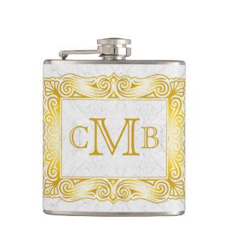Gold Classic Monogram Ornate Frame White Marble Flasks