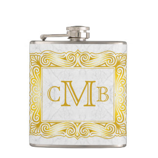 Gold Classic Monogram Ornate Frame White Marble Hip Flask