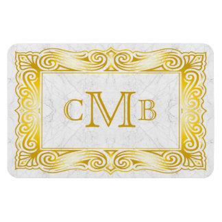 Gold Classic Monogram Ornate Frame White Marble Magnet