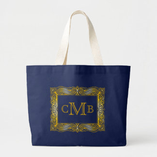Gold Classic Monogram Ornate Traditional Frame Large Tote Bag