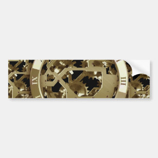 Gold Clocks and Gears Steampunk Mechanical Gifts Bumper Sticker