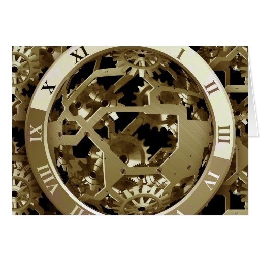 Gold Clocks and Gears Steampunk Mechanical Gifts Cards