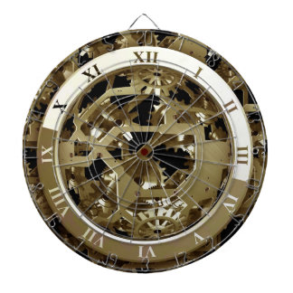 Gold Clocks and Gears Steampunk Mechanical Gifts Dart Boards