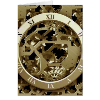 Gold Clocks and Gears Steampunk Mechanical Gifts Greeting Card