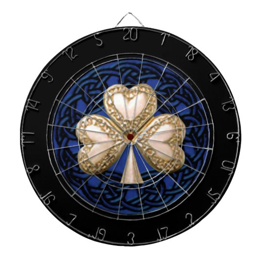 Gold Clover Celtic Knots Dart Board