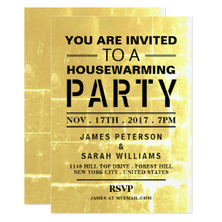Gold Club Poster Housewarming Party Card