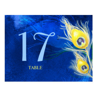 Gold + Cobalt Blue Peacock Wedding Table Numbers Postcard
