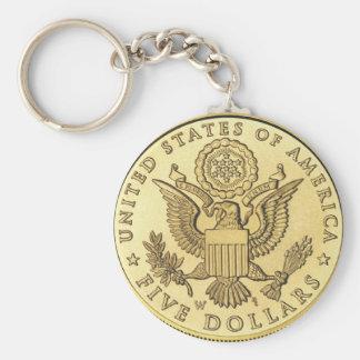 Gold Coin Basic Round Button Keychain