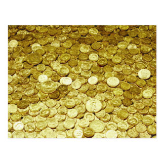 gold coins postcard