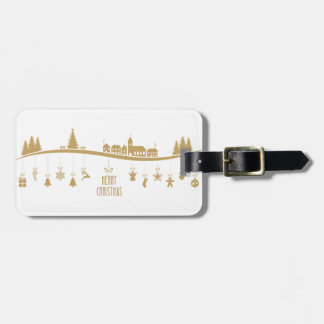 Gold color Elegant Merry Christmas Decoration Luggage Tag