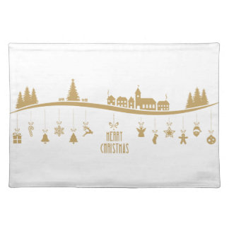 Gold color Elegant Merry Christmas Decoration Placemat