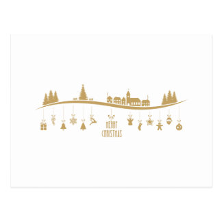 Gold color Elegant Merry Christmas Decoration Postcard