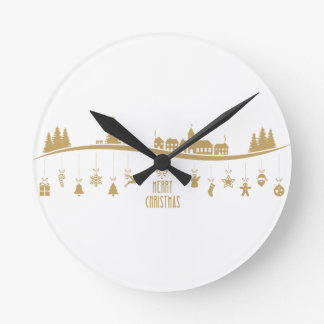 Gold color Elegant Merry Christmas Decoration Round Clock