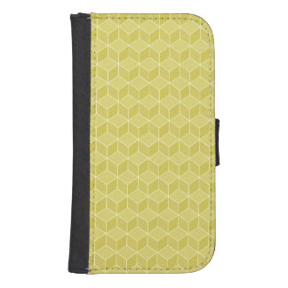 Gold Colored 3D cubes cascading Phone Wallet