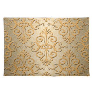 Gold Colored Embossed Looking Damask Placemat