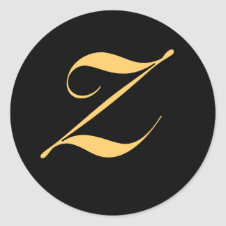 Gold-colored initial Z on black monogram sticker