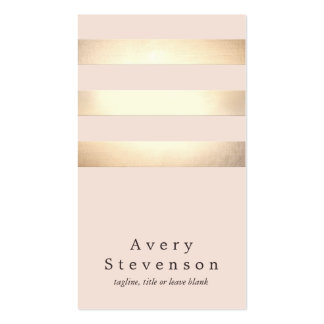 Gold Colored Striped Modern Light Pink Chic Business Card Templates