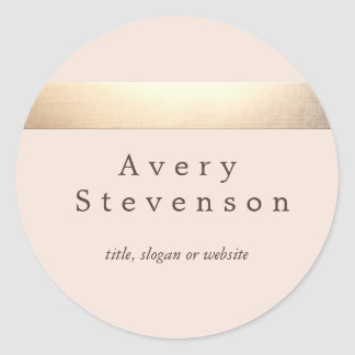 Gold Colored Striped Modern Light Pink Chic Round Sticker