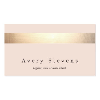 Gold Colored Striped Modern Stylish Light Pink Business Card