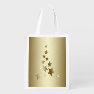 Gold Colored Tree Made Out of Stars, Christmas Market Tote