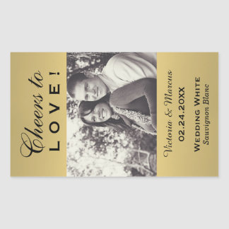 Gold Colored Wedding Photo Wine Bottle Favor Sticker