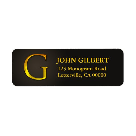 Gold Colour Monogram G Return Address Labels