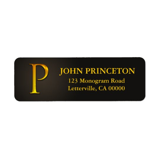 Gold Colour Monogram P Return Address Labels