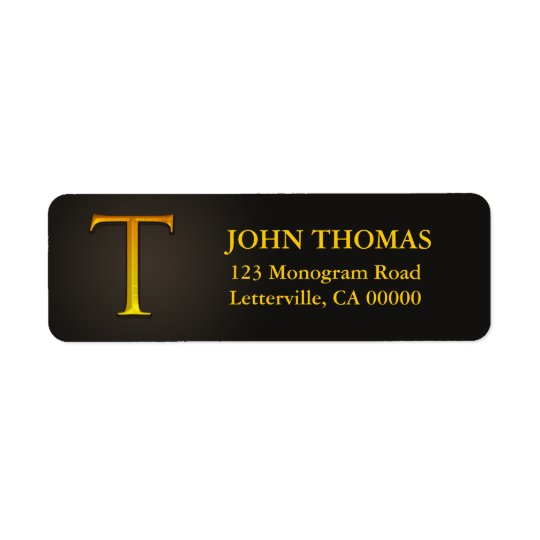 Gold Colour Monogram T Return Address Labels