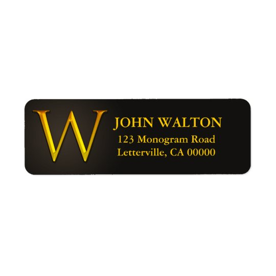 Gold Colour Monogram W Return Address Labels